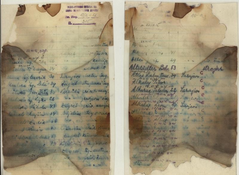 27. јануар, Међународни дан сећања на жртве Холокауста - Страница списка заточеника логора Јасеновац пронађеног у једној од масовних гробница.